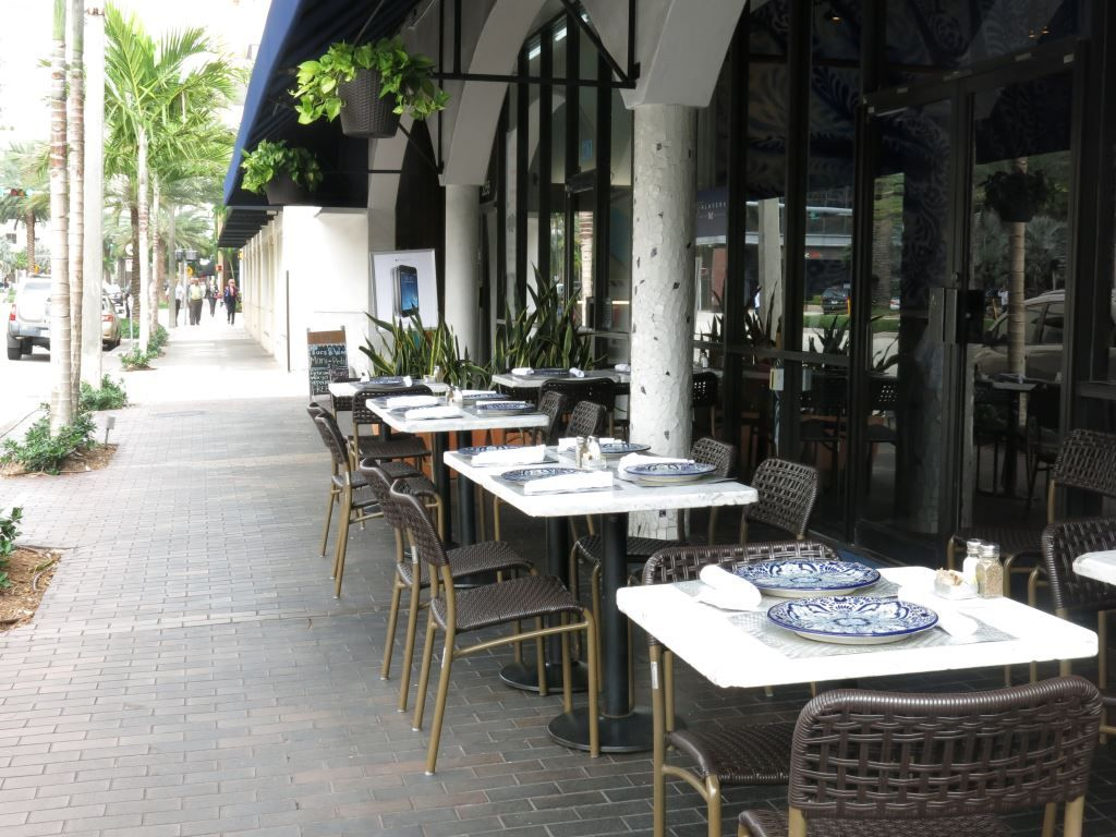 Outdoor restaurant tables and chairs