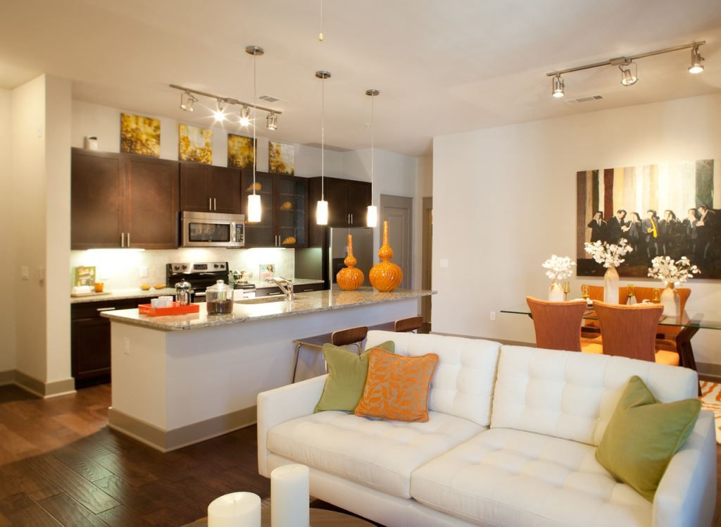 Apartment living area with view of kitchen