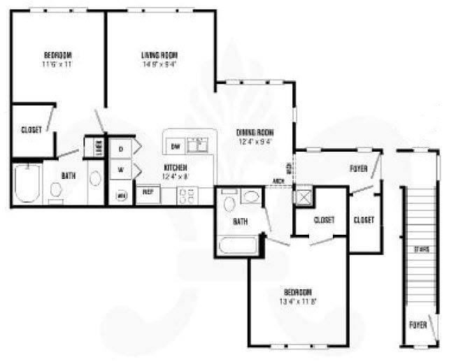 A 2D drawing of the Dorchester Renovated floor plan