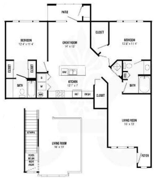 A 2D drawing of the Gresham Renovated floor plan