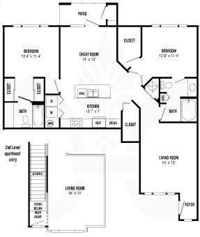 A 2D drawing of the Gresham floor plan