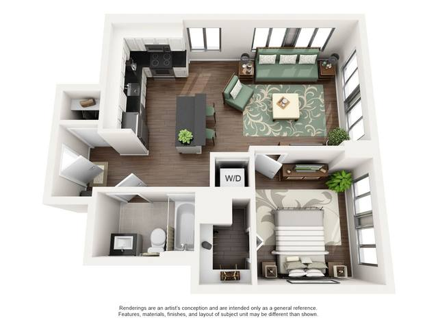 A 3D rendering of the A floor plan