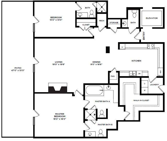 A 2D drawing of the 6 floor plan