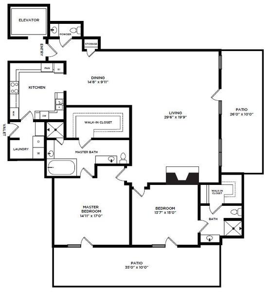 A 2D drawing of the 8 floor plan