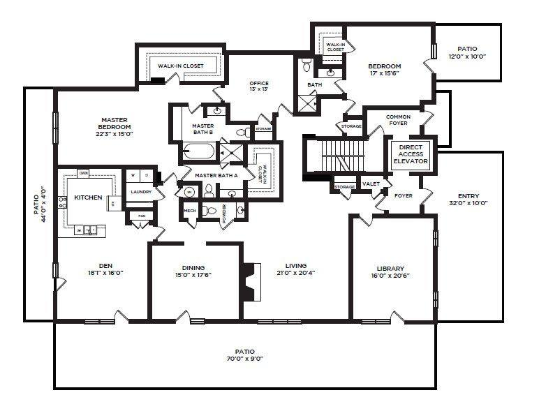 A 2D drawing of the 37 floor plan