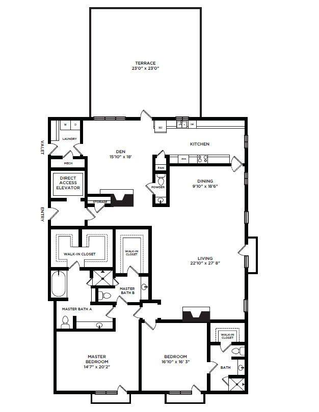 A 2D drawing of the 30 floor plan