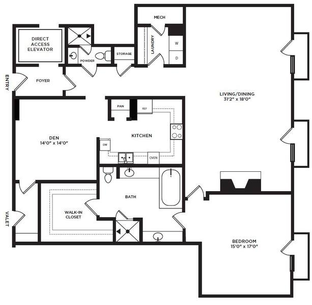 A 2D drawing of the 2 floor plan