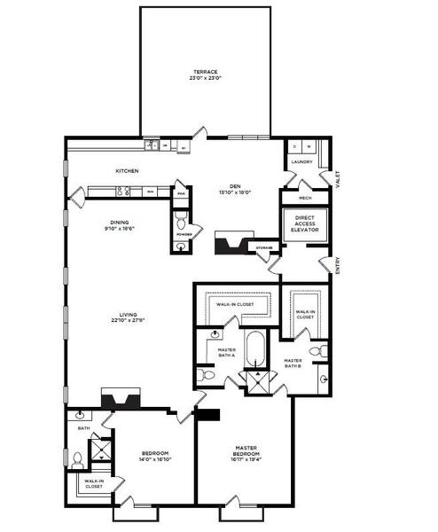 A 2D drawing of the 27 floor plan