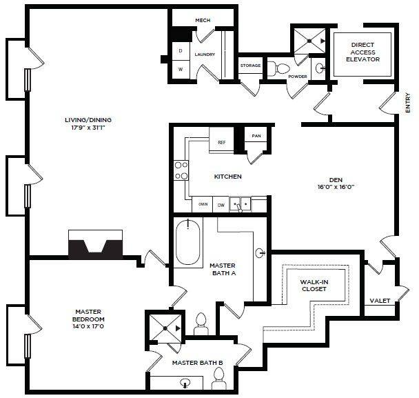 A 2D drawing of the 12 floor plan