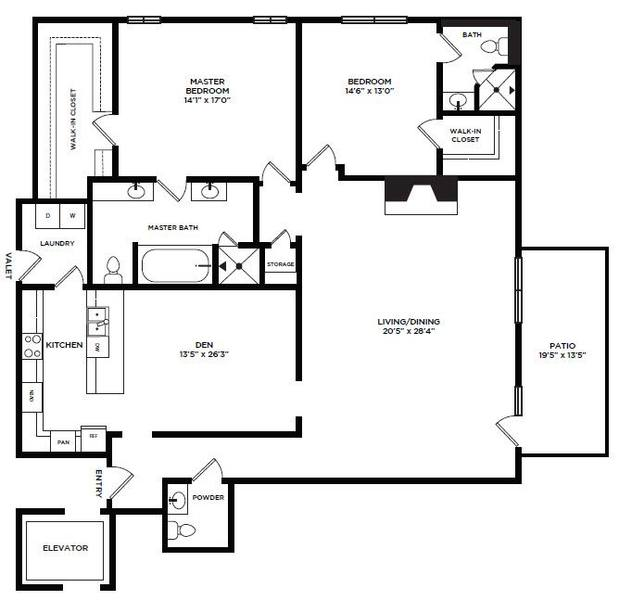 A 2D drawing of the 15 floor plan