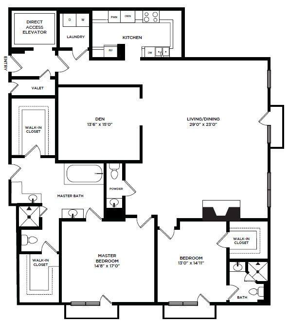 A 2D drawing of the 21 floor plan