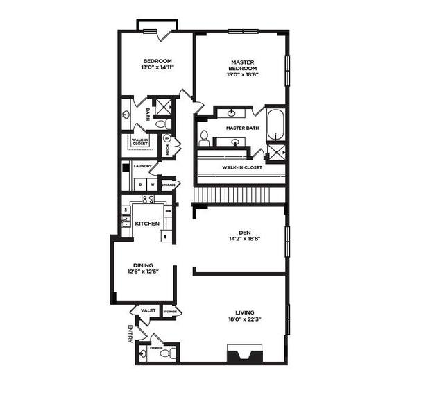 A 2D drawing of the 20 floor plan