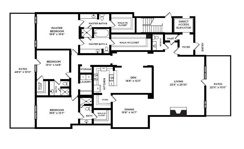 A 2D drawing of the 34 floor plan