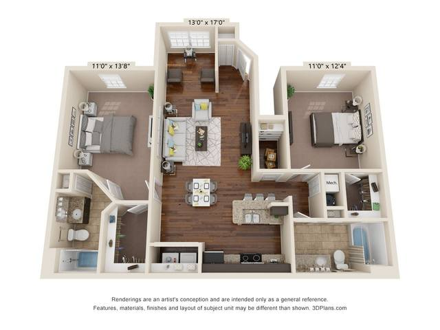 A 2D drawing of the Pebble Beach floor plan