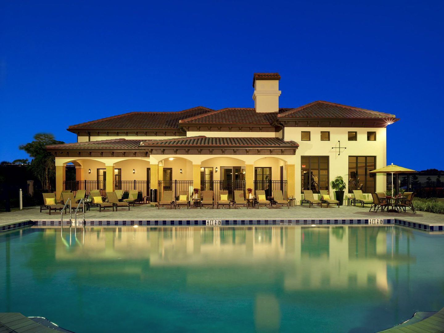 Clubhouse with pool views