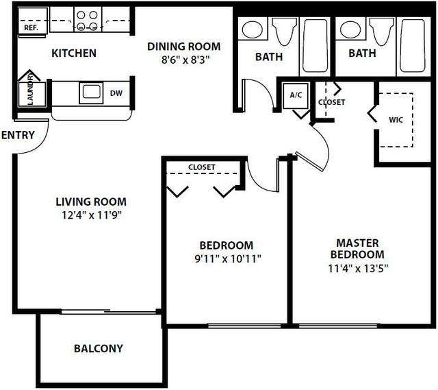 A 2D drawing of the The Dalton floor plan