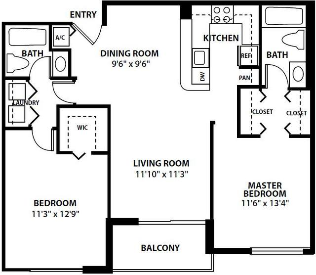 A 2D drawing of the The Easton floor plan