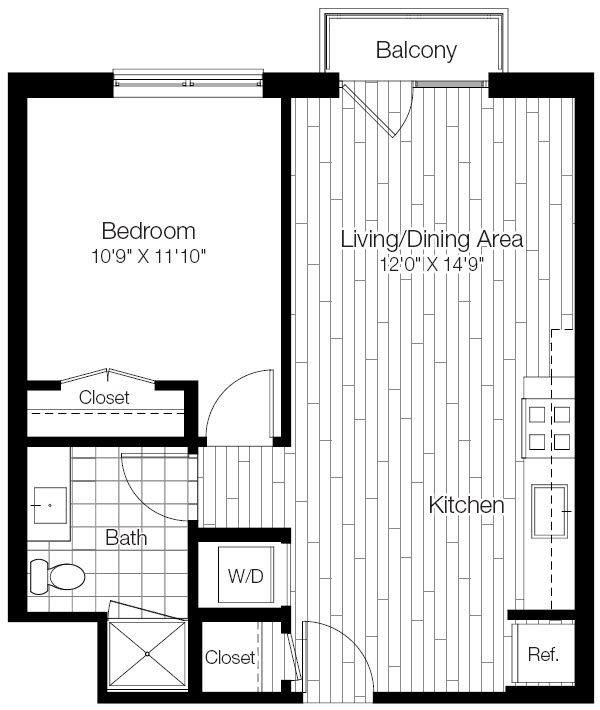 A 2D drawing of the 1B floor plan