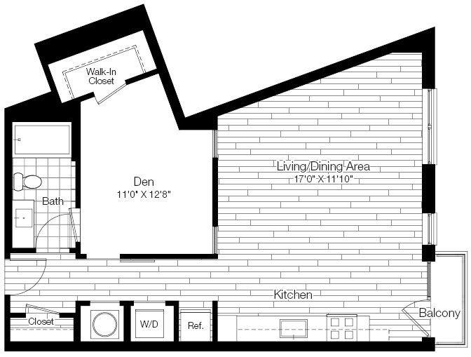 A 2D drawing of the 1K floor plan