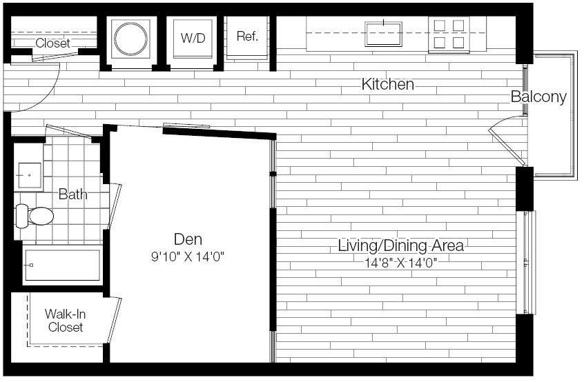 A 2D drawing of the 1E floor plan