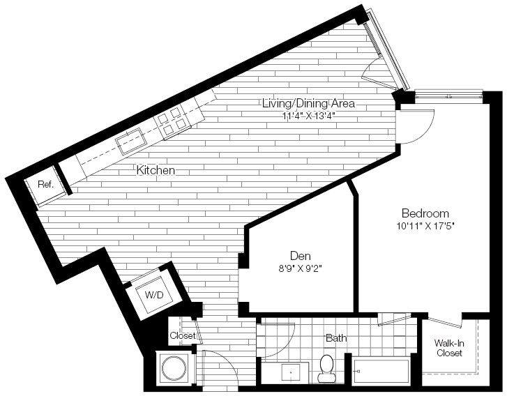 A 2D drawing of the 1M floor plan