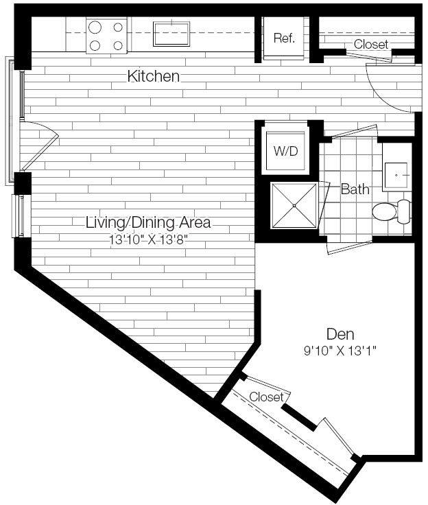 A 2D drawing of the 1A floor plan
