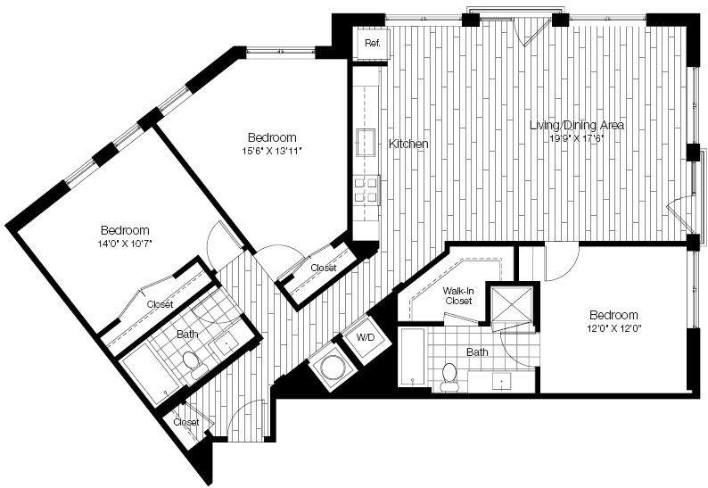 A 2D drawing of the 3A floor plan