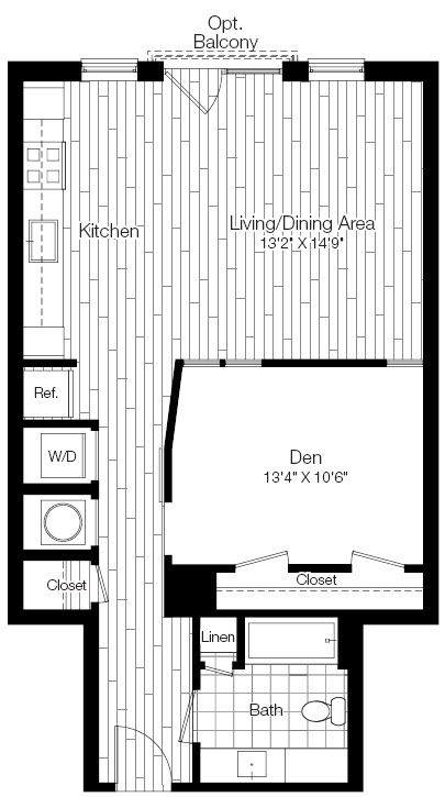 A 2D drawing of the 1J floor plan