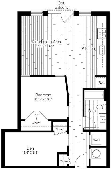 A 2D drawing of the 1L floor plan