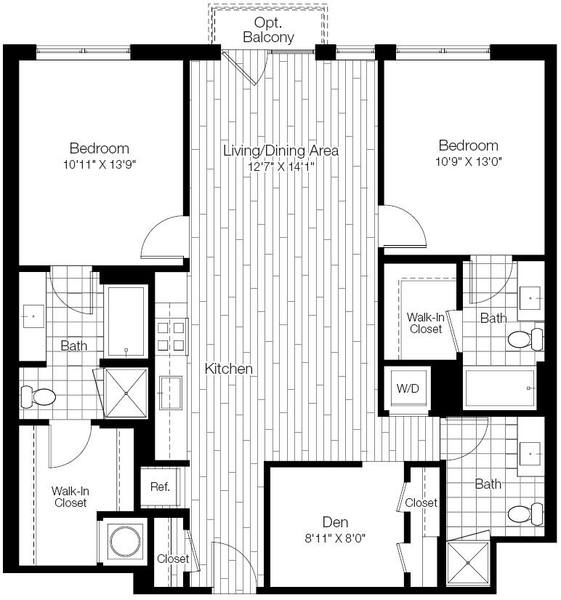 A 2D drawing of the 2D floor plan