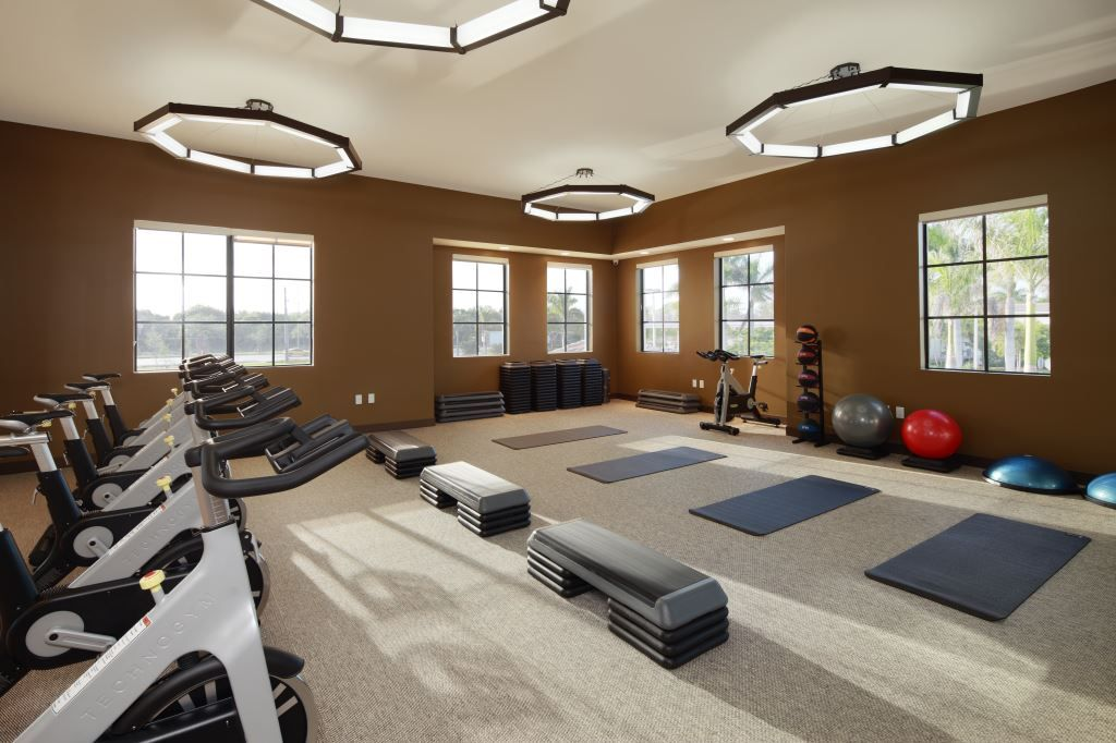 exercise equipment in fitness room