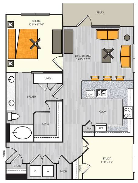 A 2D drawing of the A12s floor plan