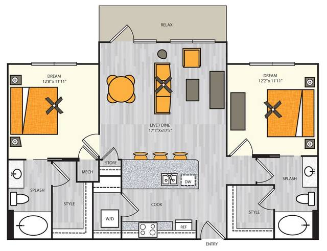 A 2D drawing of the B2 floor plan
