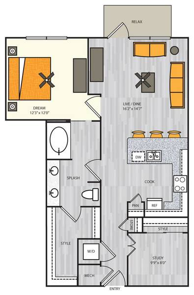 A 2D drawing of the A11s floor plan