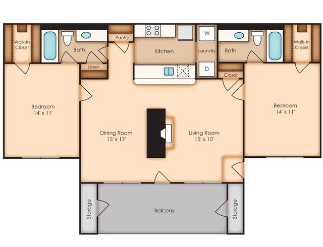 A 2D drawing of the Brook    (BC1) floor plan