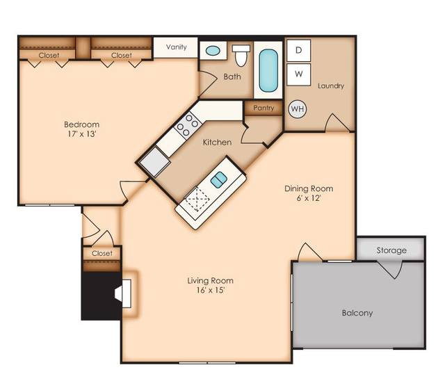 A 2D drawing of the Oaks (AA2) floor plan