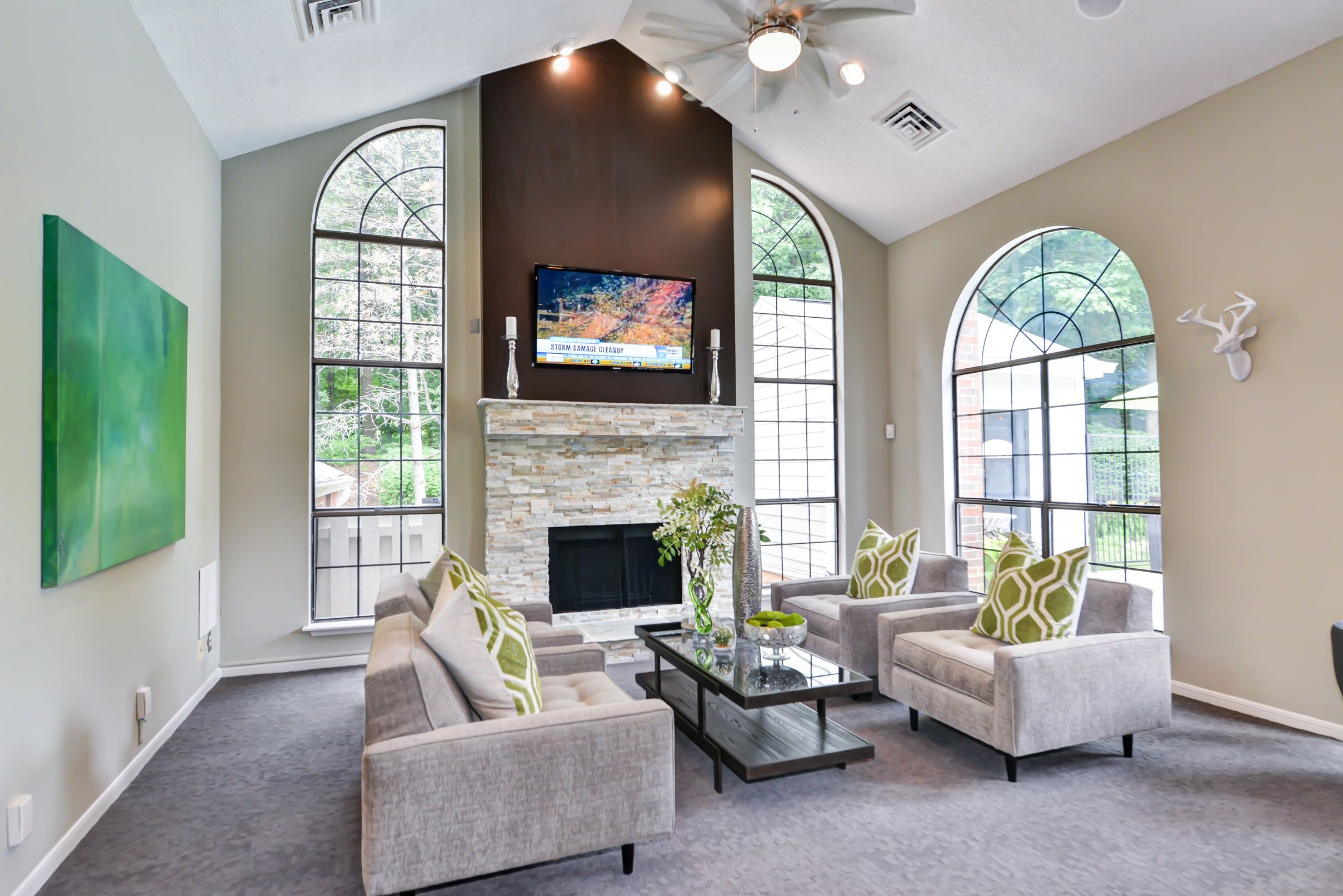 community clubhouse seating with TV