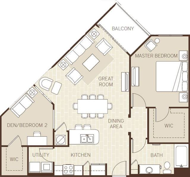 A 2D drawing of the The Bermuda floor plan