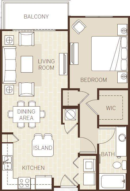 A 2D drawing of the The Aruba floor plan