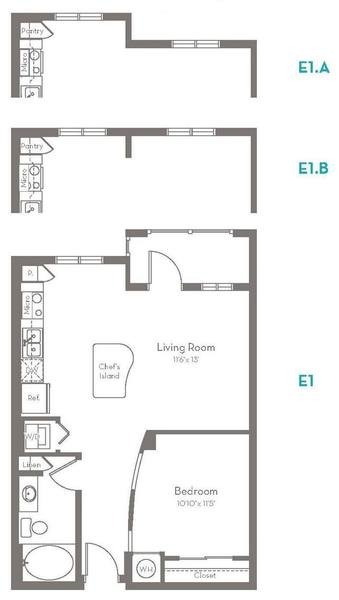 A 2D drawing of the E1.B floor plan