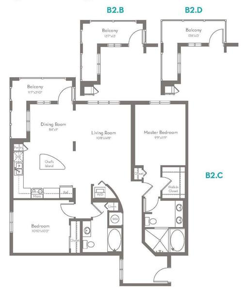 A 2D drawing of the B2.C floorplan
