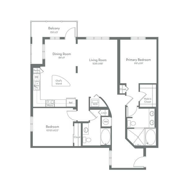 A 2D drawing of the B2.D floor plan