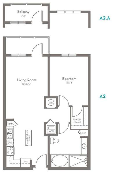 A 2D drawing of the A2.A floor plan