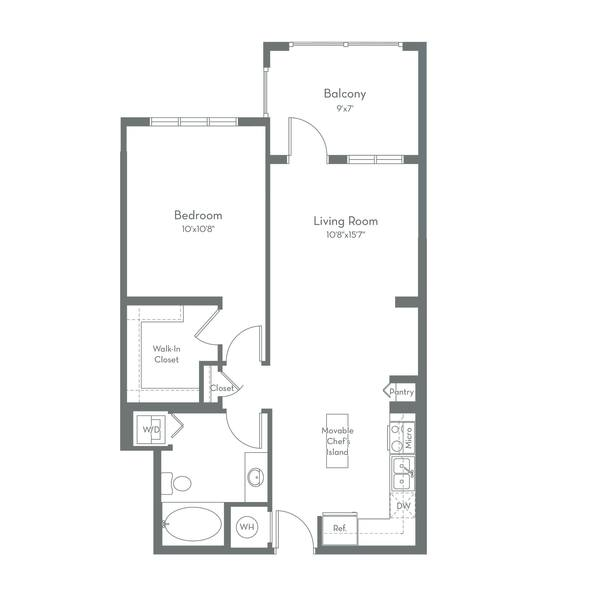 A 2D drawing of the A2.B floor plan