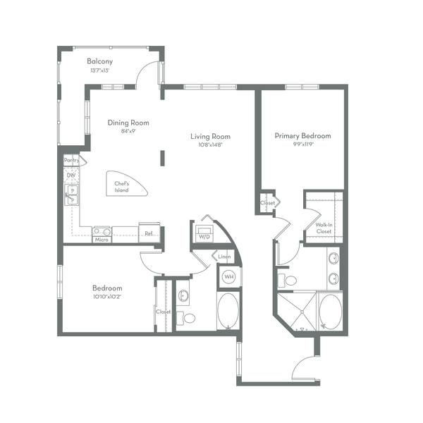 A 2D drawing of the B2.B floor plan