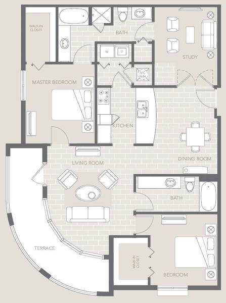 A 2D drawing of the The Monticello floor plan