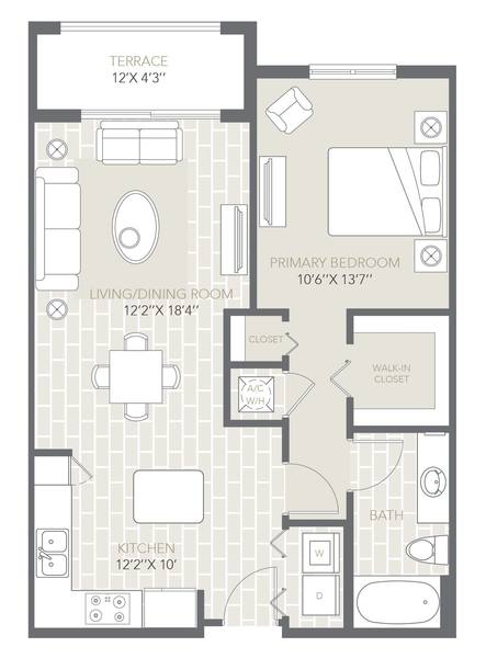 A 2D drawing of the The Lenox floor plan