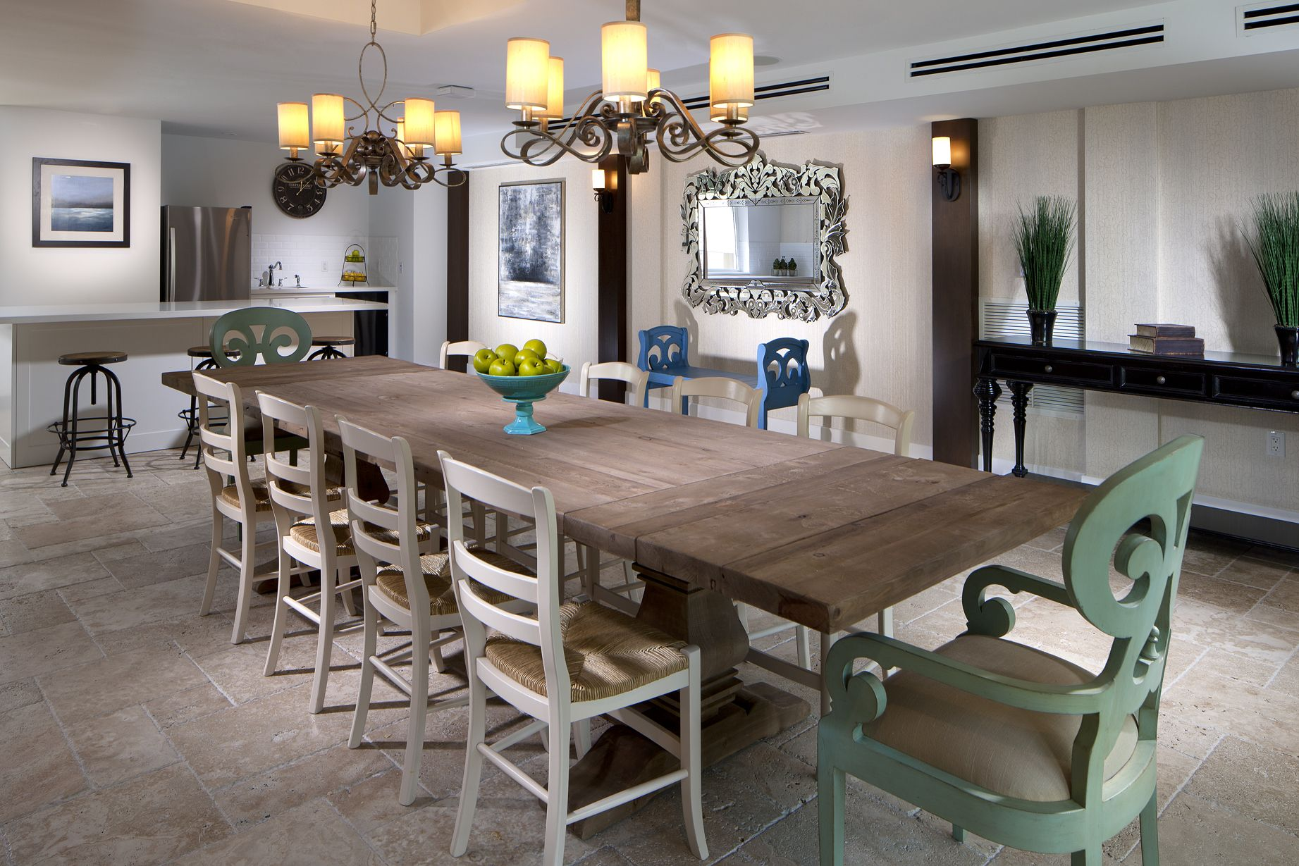 Long table and demonstration kitchen