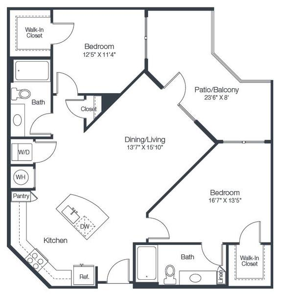 A 2D drawing of the B2A floor plan