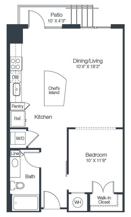 A 2D drawing of the A1C floor plan
